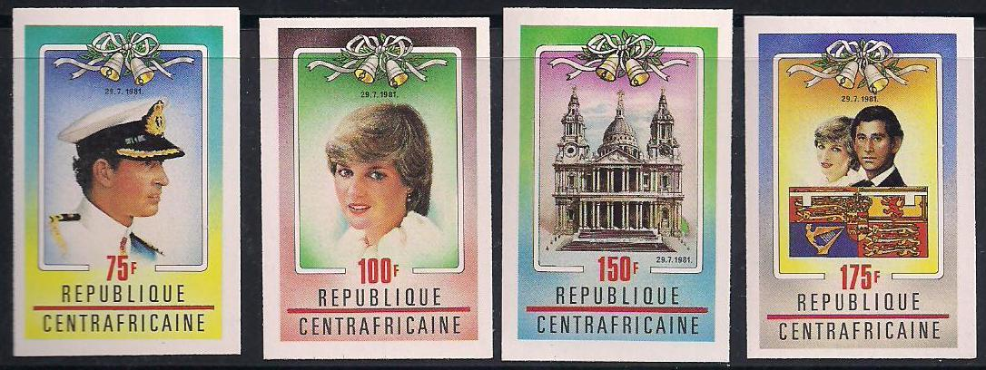1981 C.A.R. - Charles and Diana Wedding Imperforate Set (4) MNH